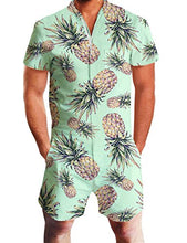 Load image into Gallery viewer, Design Unisex Pineapple Printed Beach Short Sleeve Romper