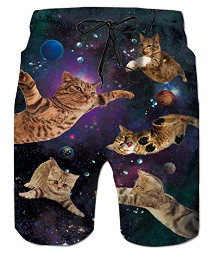Swimming Flying Cats Shorts Summer Holiday Swimwear Trunks