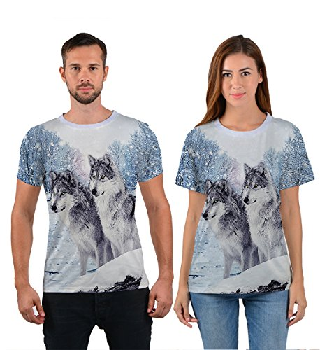 Uideazone Printed Forest Wolf Shirt Teen Casual Graphic Tee