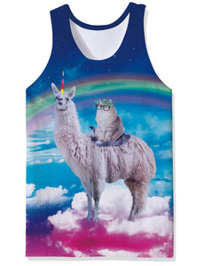 Uideazone Funny Spectacle Cat Alpaca Printed Tank Top