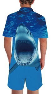 Uideazone Design 90s Mens 3D Shark Printed Romper