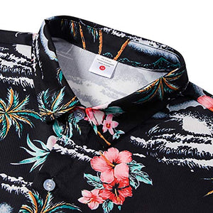 Men Button Front Floral Beach Hawaii Long Sleeve Shirts