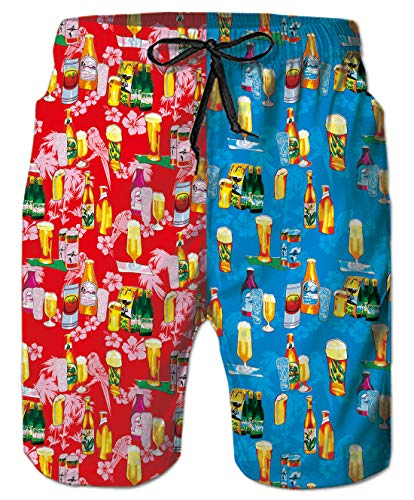 Blue and Red Beer Hawaii Holiday Quick-Drying Swim Trunks