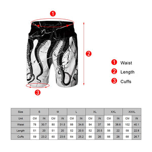 Uideazone Mens Beach Pants Printed Rainbow Shark Swim Trunks Funny Pattern