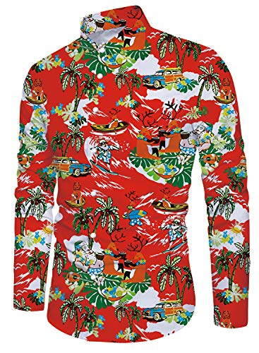 Funny Christmas Print Long Sleeve Button Down Dress Shirt