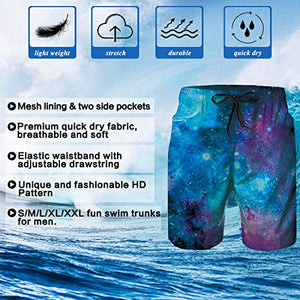 Mens Graphic Board Shorts Galaxy Blue Summer Trunks