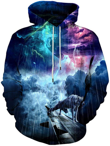 Unisex Men/Women Raining Galaxy Wolf 3D Printed Hoodies