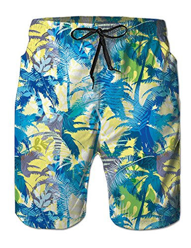 Uideazone Cute Tropical Hawaii Modest Beach Shorts Trunks