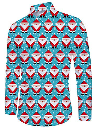 Santa Claus Long Sleeve Shirt for Men Casual Button Down Shirts