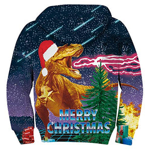 Uideazone Graphic Printed Merry Christmas Ugly Dinosaur Pullover  Hoodies