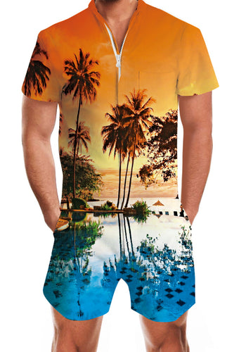 3D Print Hawaiian Yellow Mens Romper