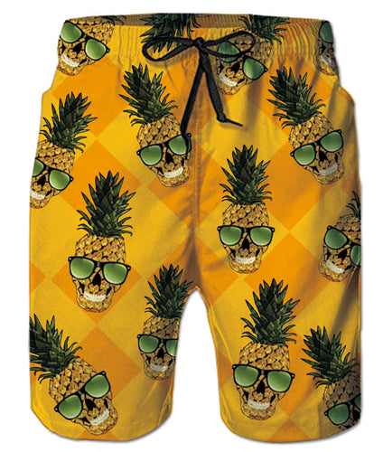 Mens Cute Pineapple Ananas with Sunglasses Swim Trunks