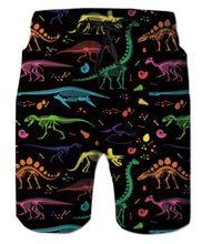 Load image into Gallery viewer, Funny Colorful Dinosaur Skeleton Swim Trunks Novelty Beach Shotrs