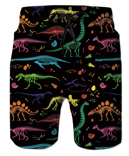 Funny Colorful Dinosaur Skeleton Swim Trunks Novelty Beach Shotrs