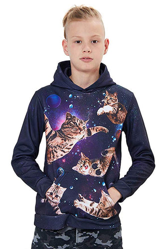 Uideazone Unisex 3D Printed Space Cat Novelty Hoodies