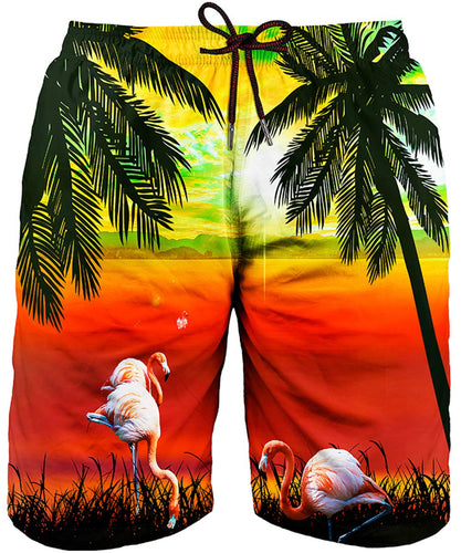 Beach Graphic Coconut Tree and Sunset Eye Catching Trunks