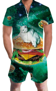 Design Uideazone Adult Man Pizza Cat Rompers Beach Romper