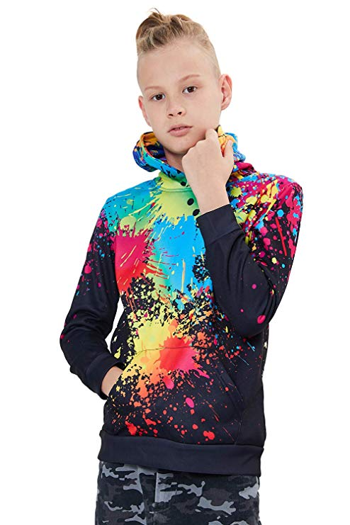 Unisex Boys Girls Realistic Printed Graffiti Hoodie Casual