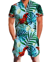 Load image into Gallery viewer, Design Men Tropical Style Graphic Zipper One Piece Romper