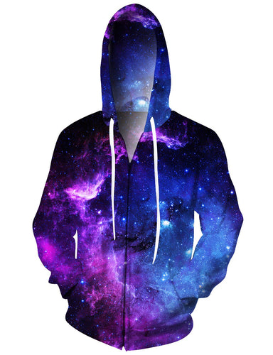 Men Galaxy Nebula Cluster Zip Up Hoodie Casual Hooded Jacket