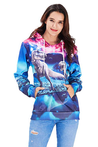 Uideazone Galaxy Colour Sweater Dinosaur Casual Hoodie