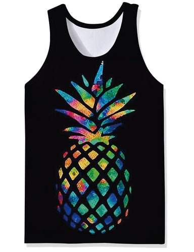 Uideazone Black Pineapple Vest Undershirt Tank Tops