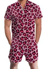 Uideazone Mens Zipper Rompers Leopard Printing Jumpsuit