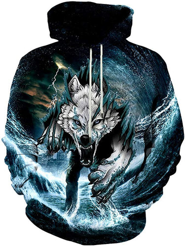 Unisex Men/Women Galaxy Wolf 3D Printed Hoodies