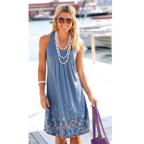 Fashion Sleeveless Floral Loose Beach Dress Casual Dress S-5XL
