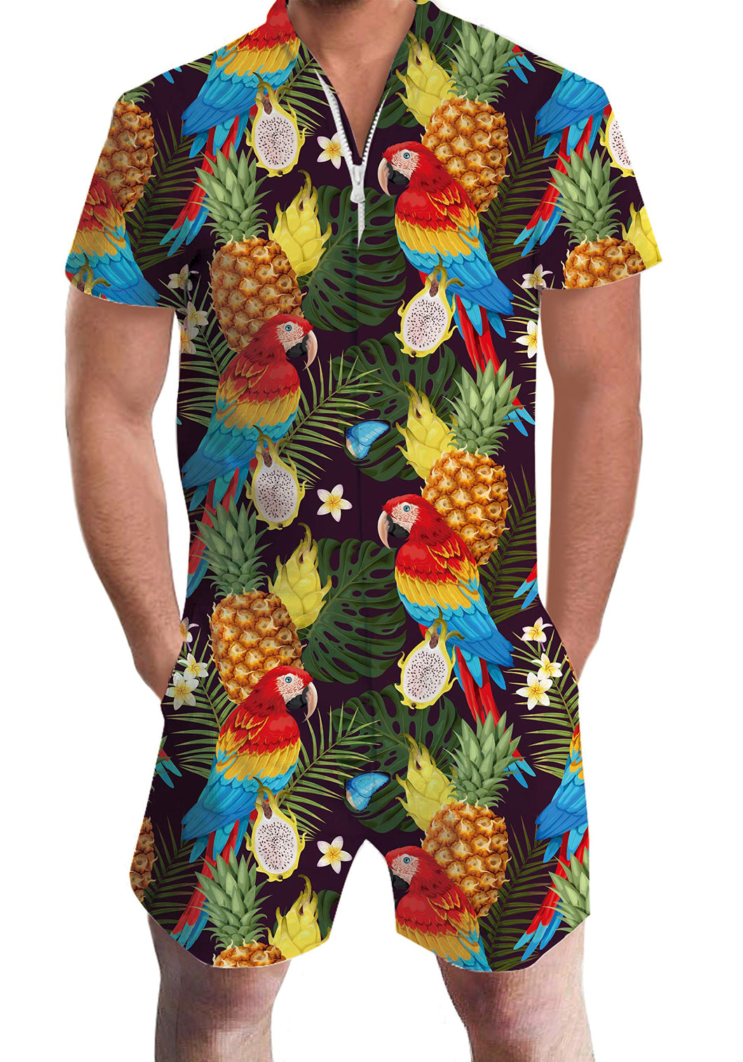 Hawaiian Parrot Pineapple Casual Zipper Cargo Pants Rompers