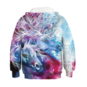 Kids Hoodie Galaxy Nebula Unicorn Baseball uniform