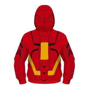Kids Zipper Hoodie Halloween Red Iroman Cosplay