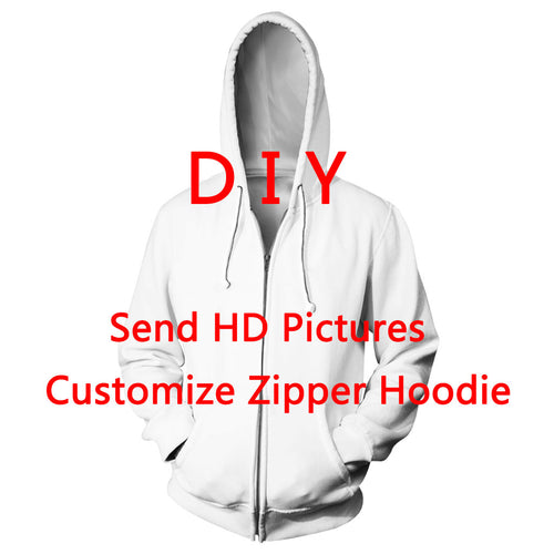 DIY Personalized Design Men/Women 3D Printed Zipper Hoodies