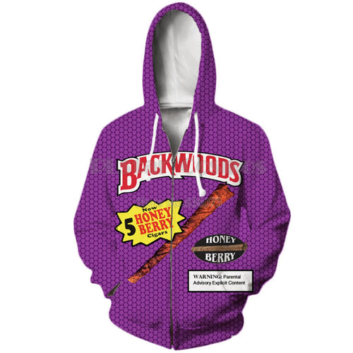 3d hoodies Funny Foods Backwoods Face Zid Up Hoodie