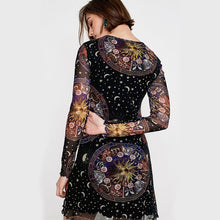 Load image into Gallery viewer, Gothic Halloween Moon Sun Women Mini Dress