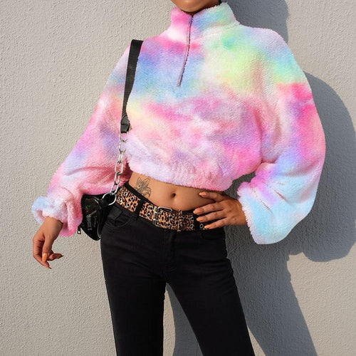 Comfy Rainbow Furry Jacket & Cropped Sweatshirt for Woman