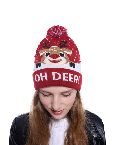 3D LED Christmas Deer Beanie Hats