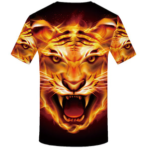 Unisex Fire Tiger Animal 3D Printed T Shirt