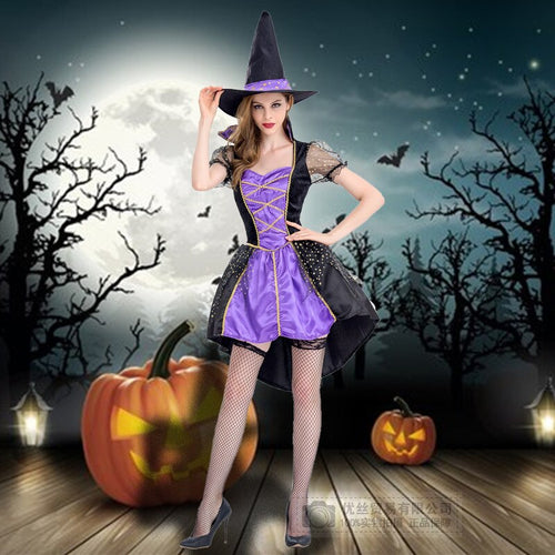 Halloween Costumes for Purple Witch Sexy Garment