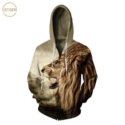 3D Print Cool Lion Casual Unisex  Fleece Zipper Hoodie