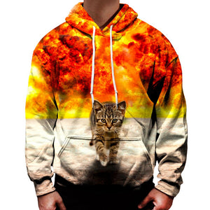 Uideazone Colour Explosion Sweater Cat Casual Hoodie
