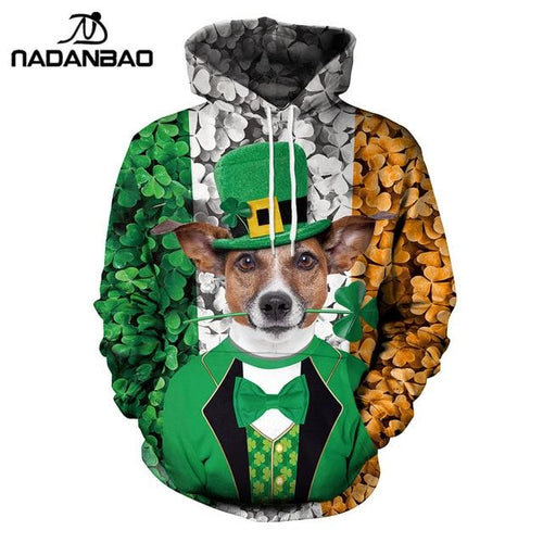 Dog With Cap St. Patrick'S Day Funny Frinted Casual Hoodie