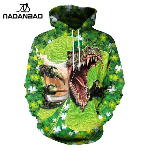 Lucky Green Women Dinosaur St.Patrick'S Day Casual Hoodie