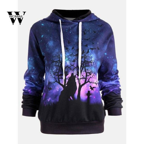 Women Wolf Digital Printing Hoodie Holloween Baseball Coats Sweats Amazing Autumn Hoodies