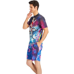 Design Mens Romper Galaxy Cat Riding Shark Print Romper