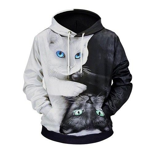 Casual 3D Print Cat Women Man Hoodie