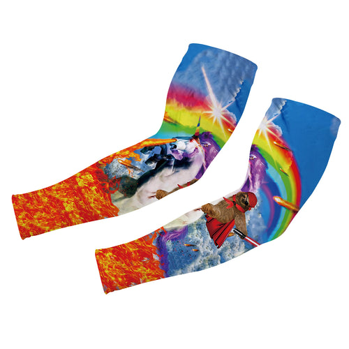 UV Protection Cooling Sports Compression Rainbow Unicorn Sloth Arm Sleeves