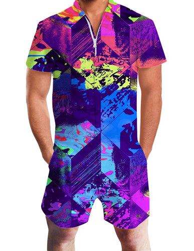 3D Print Abstract Colorful Rhombus Mens Romper