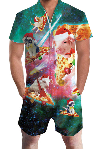 3D Print Christmas Pizza Cat Pig Mens Romper