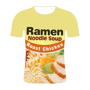 Funny T Shirts Ramen Noodle Clothing Men Summer Streetwear